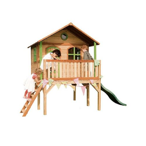 St Olaves Playhouse - Jumbo Kids Wooden Playhouse on Stilts With Porch and Wavy Slide